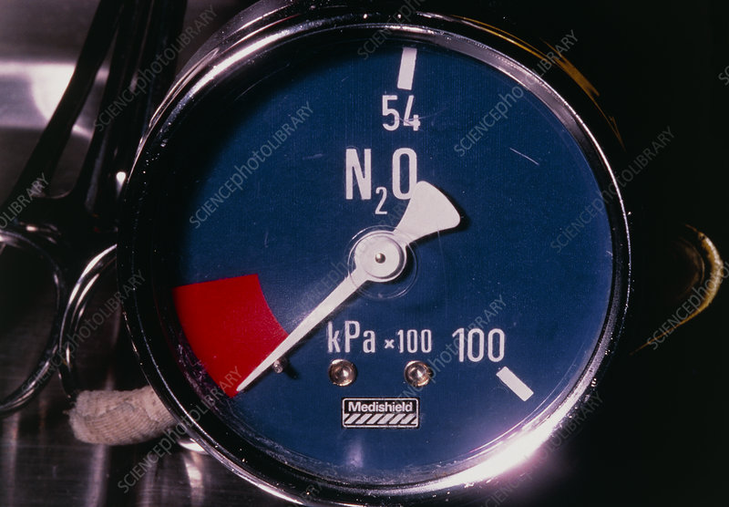 Pressure gauge on cylinder of nitrous oxide