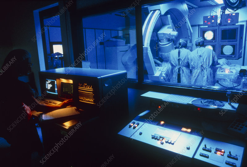 Control room view of coronary angioplasty surgery
