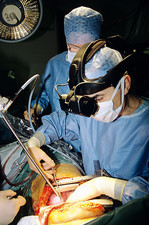 Surgeon wearing headmounted display