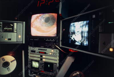 Eye operation shown on tv monitors in op. theatre