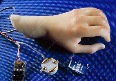 Artificial hand with myelectric control system