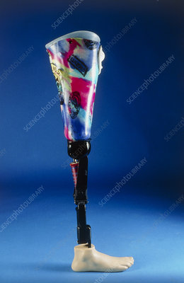 Leg prosthesis with reflex foot (side view)
