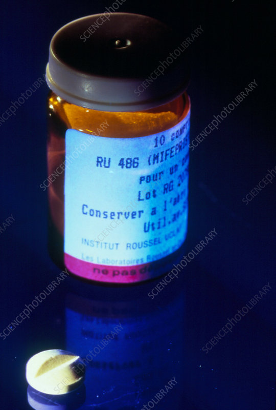 Bottle and tablet of ru486, abortion inducing drug