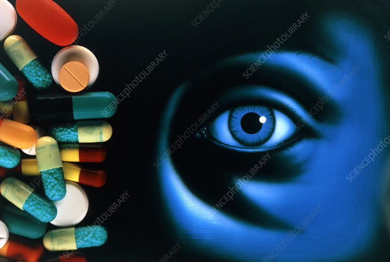 Illustration of an eye, with pills superimposed