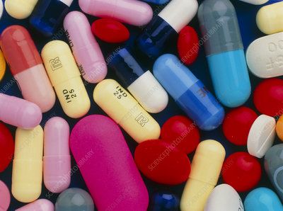 Coloured assortment of pills, tablets and capsules
