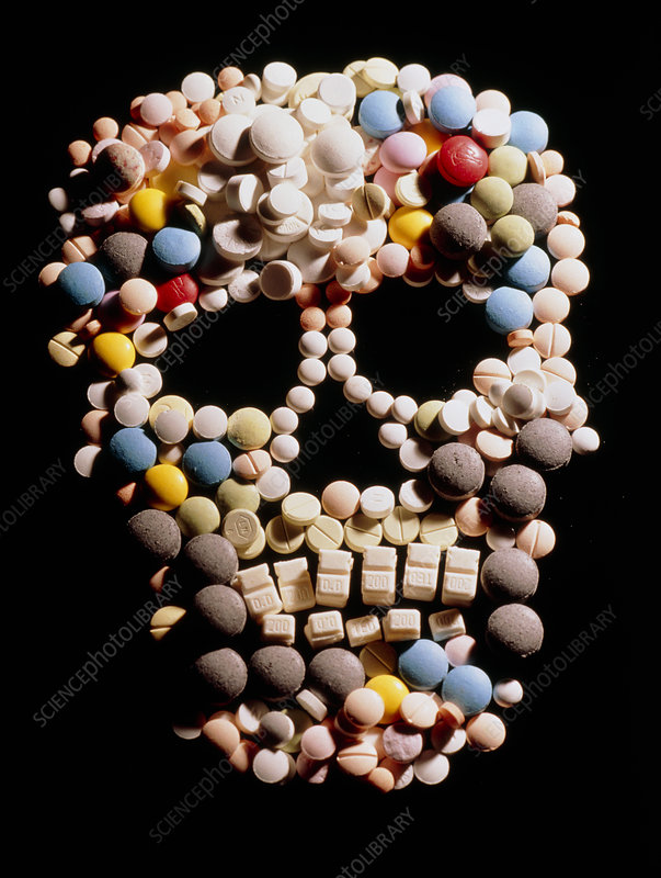 Assorted pills depicting a human skull
