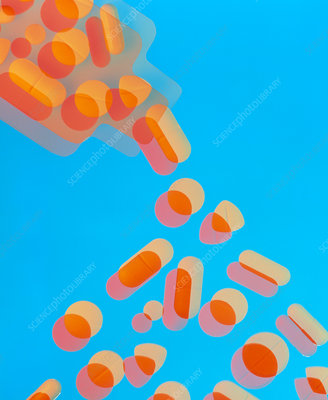 Abstract image of pills pouring from a bottle