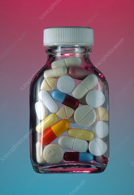 Bottle of assorted pills, capsules and tablets