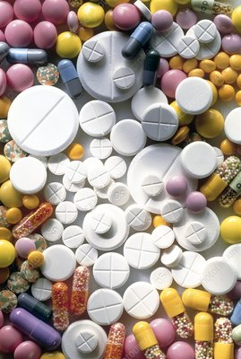 Coloured assortment of pills, tablets & capsules
