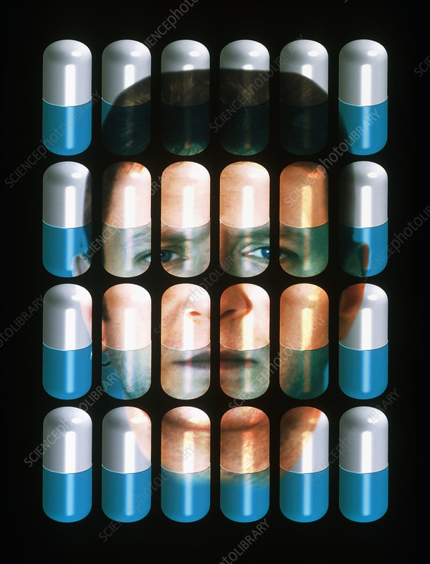 Composite image of a face with drug capsules