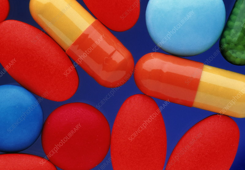 Assorted pills and drug capsules