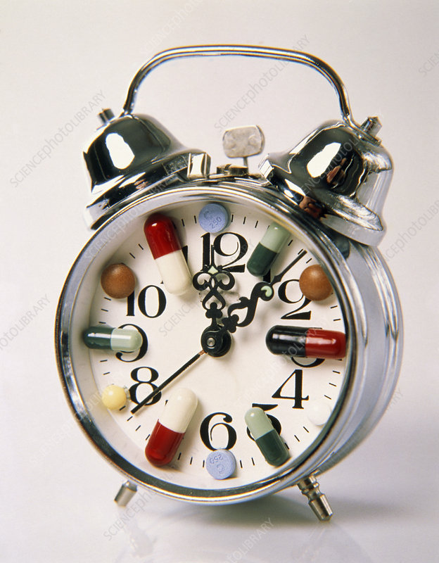 Abstract depiction of time-release capsules