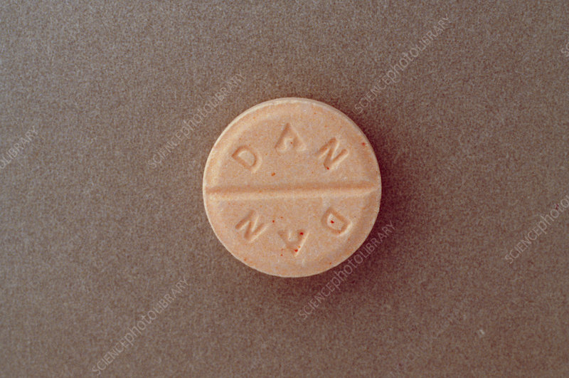 View of a pill of corticosteroid drug Prednisone
