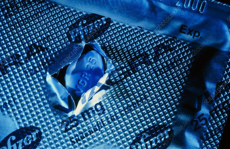 Blue Viagra pill and its metal foil packaging