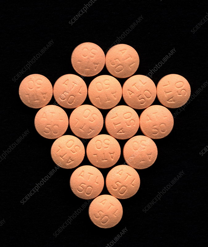 Atenolol beta blocker drug pills