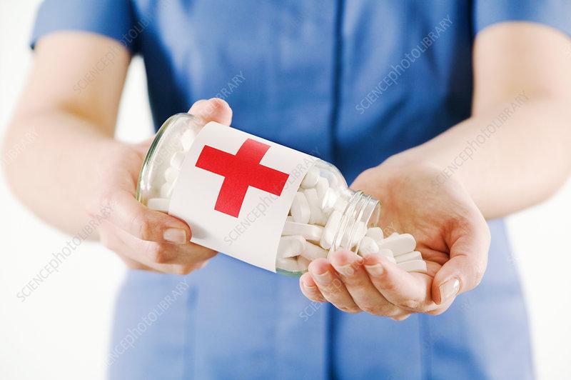 Jar of paracetamol pills