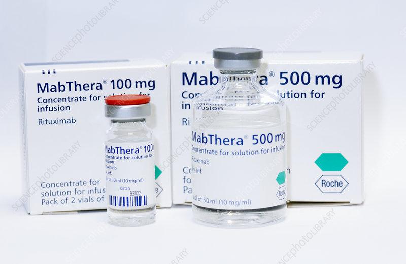 Rituximab cancer drug bottles