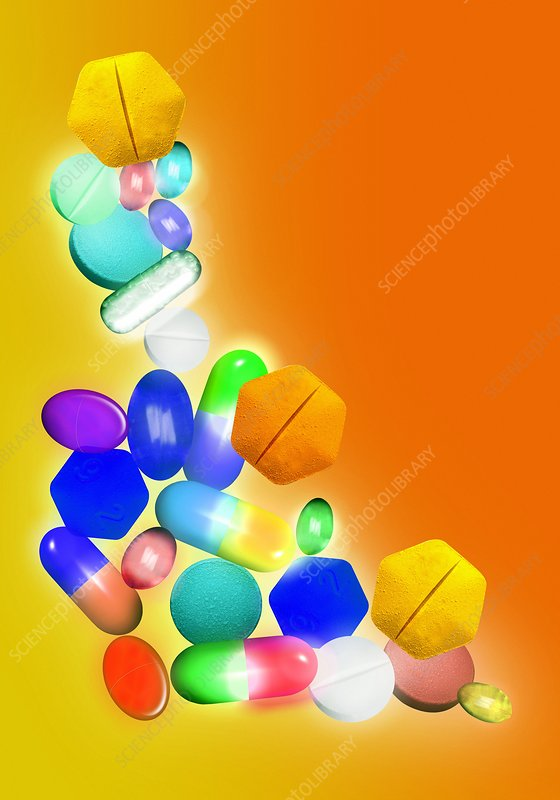 Assorted pills, computer artwork