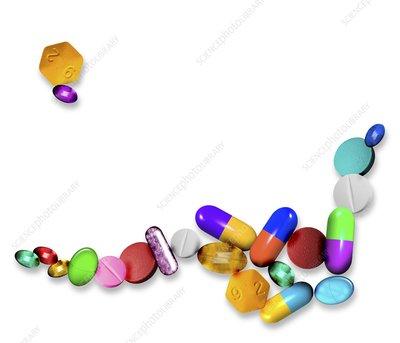 Assorted pills, computer artwork