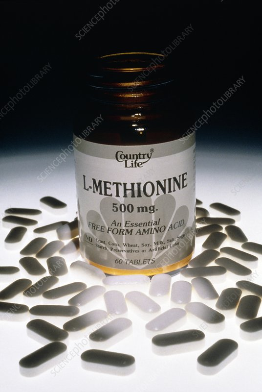 Bottle and tablets of L-methionine amino acid