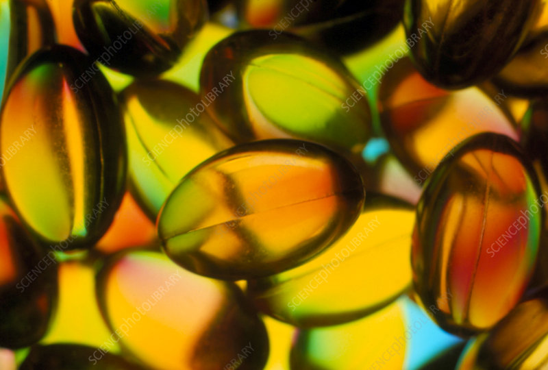 Macrophotograph of cod liver oil capsules