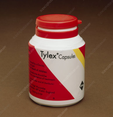 Container of Tylex capsules, an analgesic drug