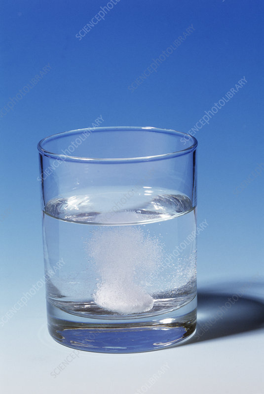 Indigestion tablet dissolving in water