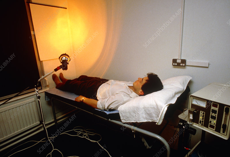 Man undergoing biofeedback therapy.