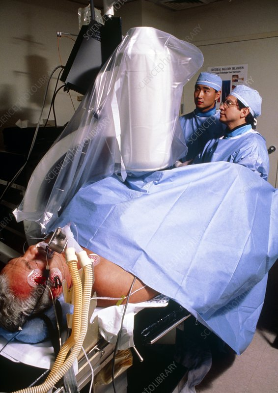 Patient undergoing laser lithotripsy procedure