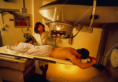 Man undergoing radiation treatment