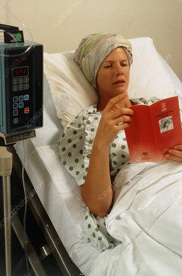 Woman receiving IV chemotherapy for ovarian cancer