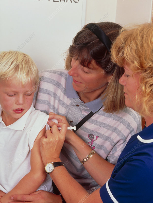 4-year-old boy receiving DPT booster vaccination
