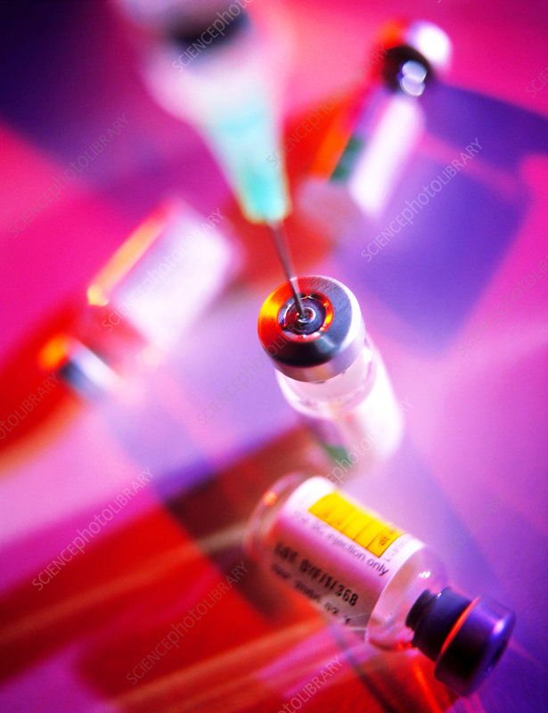 Hypodermic needle with vials of vaccine
