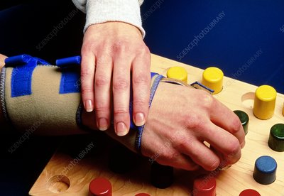 Occupational therapy: hands and pegboard