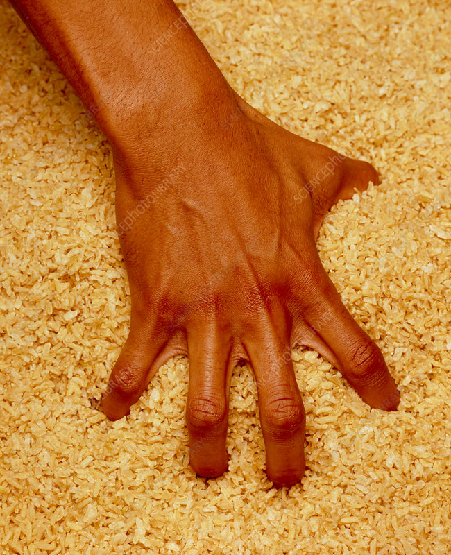 Physiotherapy: man's hand exercise with rice