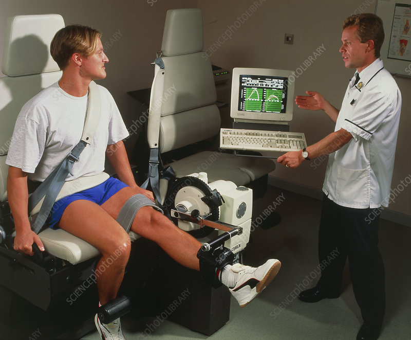 Patient doing computer-devised physiotherapy