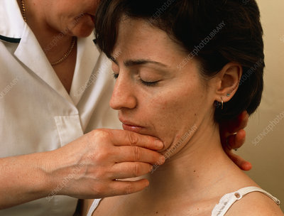 Physiotherapist manipulates female patient's neck