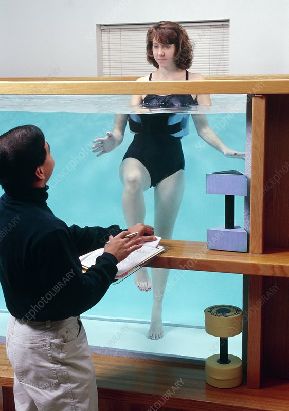 Woman doing exercises in hydrotherapy pool