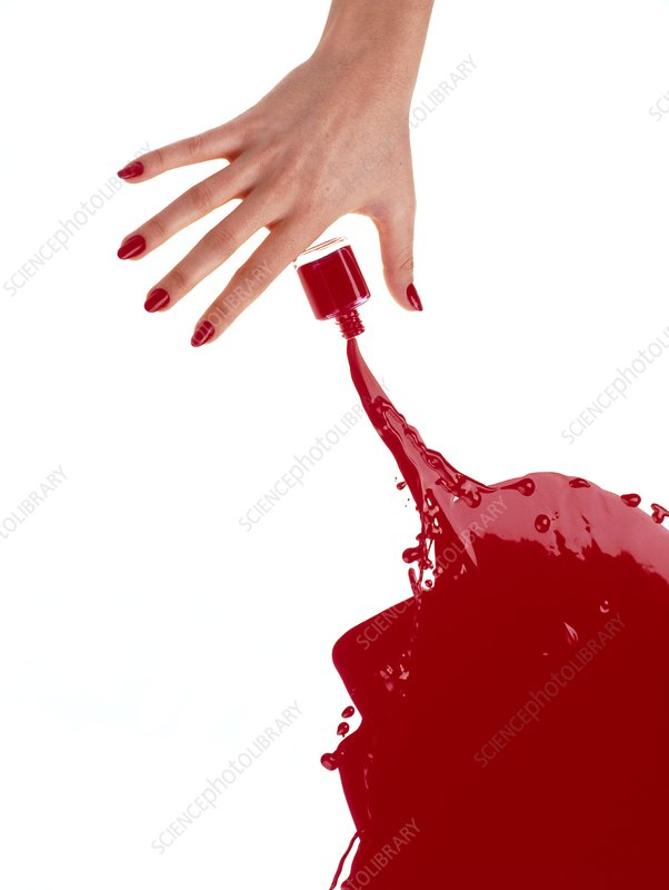 Nail varnish splashed on a table