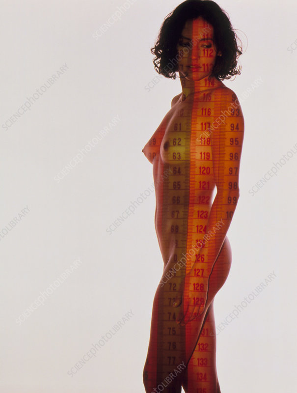 Nude woman with tape measures superimposed on body