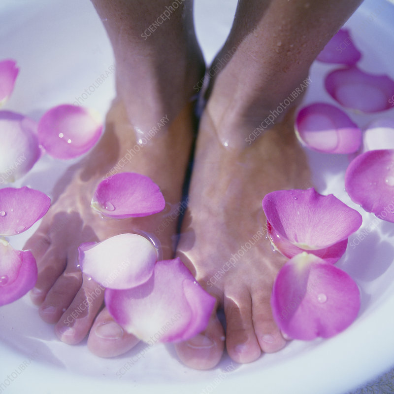 Petals in a foot bath