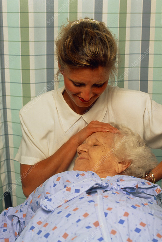 Elderly woman receives a head and neck massage
