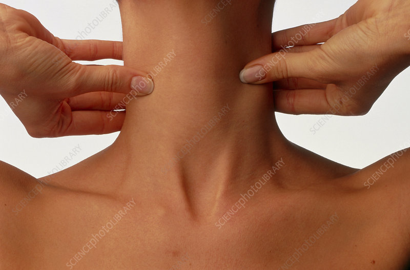 Neck massage: hands of woman during self-massage