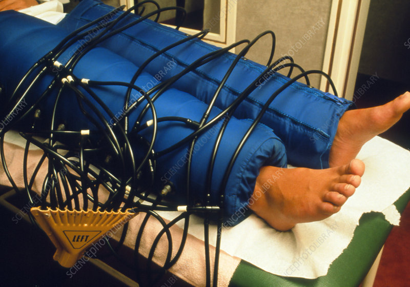 Massage of whole legs by pneumatic equipment