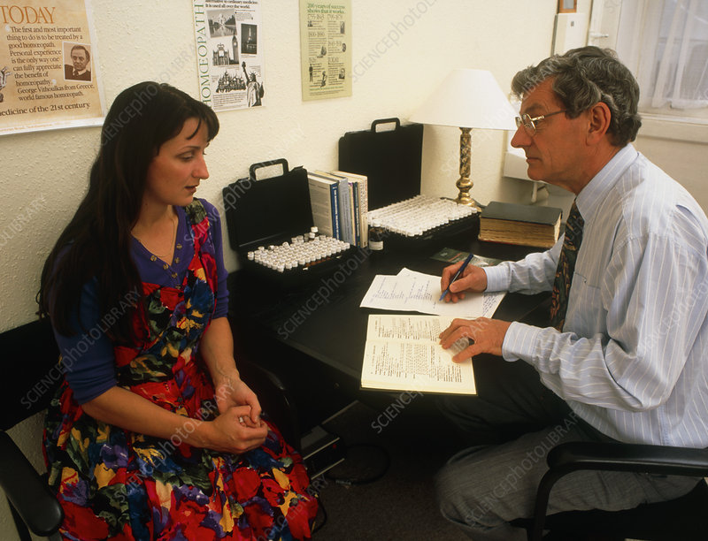 Woman in consultation with a homeopath