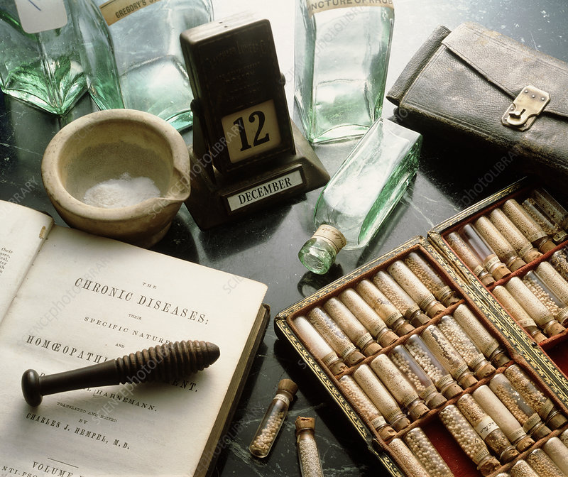 Assortment of historical homeopathic equipment