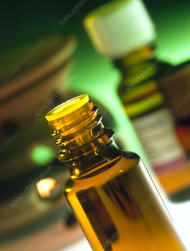 Bottles containing aromatherapy oil