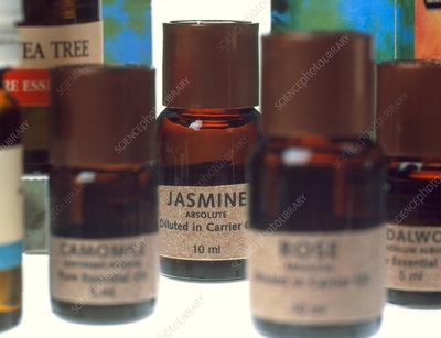 Bottles containing aromatherapy oils