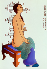 Artwork of Eastern acupuncture points on a woman