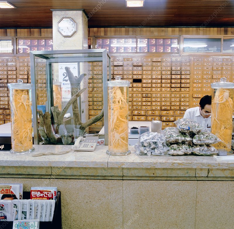 Interior of a Chinese herbal medicine Pharmacy